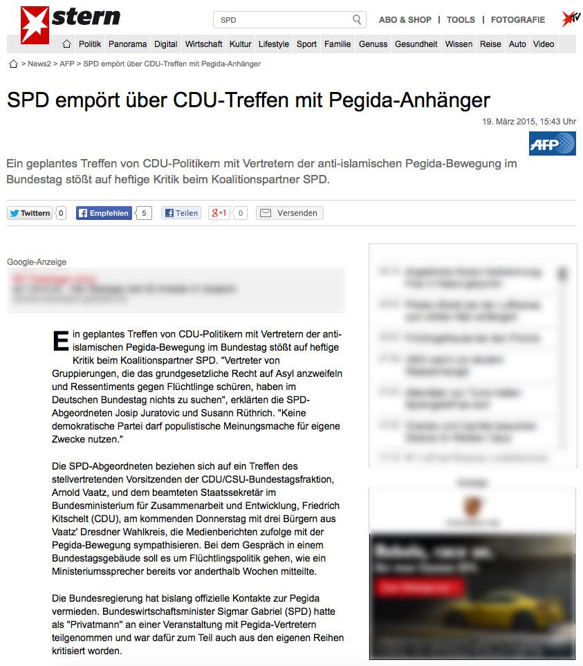 SPD empört über CDU-Treffen mit Pegida-Anhänger