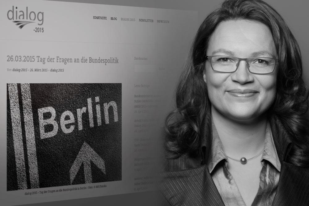 Bundesministerin Andrea Nahles (SPD) - Antworten auf Fragen 1 bis 4