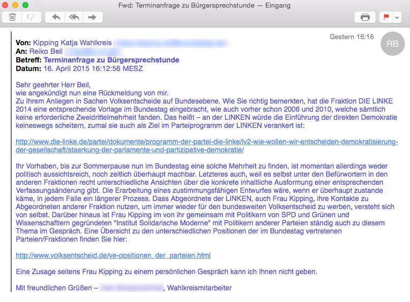 Antwort Terminanfrage Bürgersprechstunde - Katja Kipping (MdB/Die Linke)