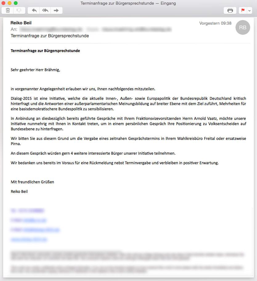 Terminanfrage zur Bürgersprechstunde - Klaus Brähmig (MdB/CDU)