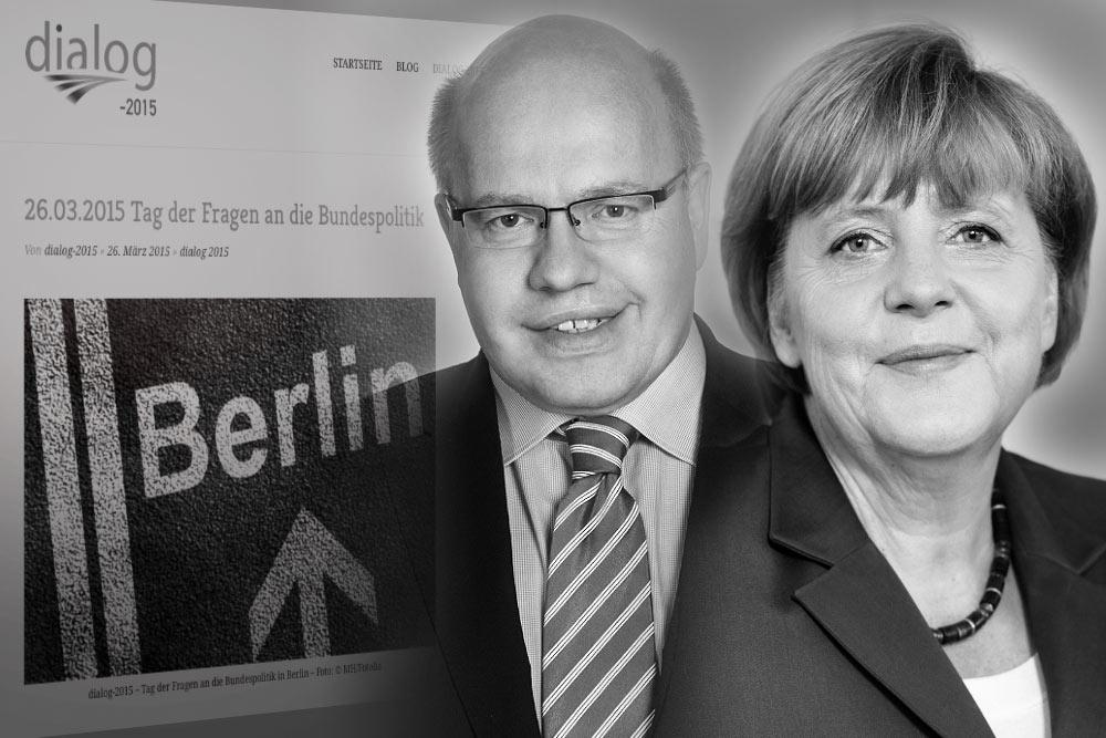 Bundeskanzlerin Angela Merkel / Bundesminister Peter Altmaier - Antwort auf Frage 1 - dialog-2015