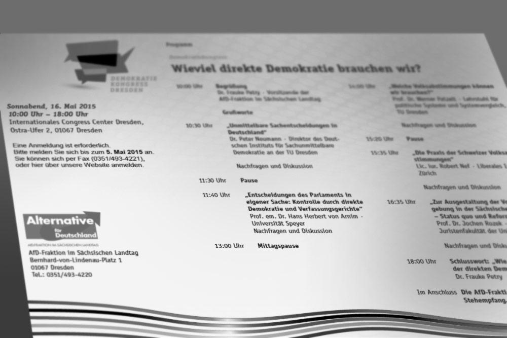 Einladung AfD Fraktion / Sächsischer Landtag am 16.05.2015