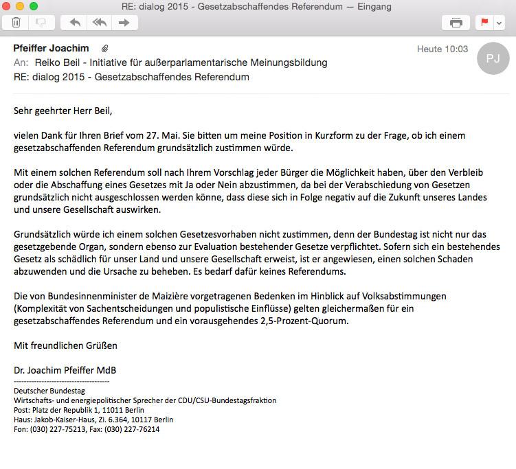 Antwort Dr. Joachim Pfeiffer (MdB/CDU) - Gesetzesabschaffendes Referendum