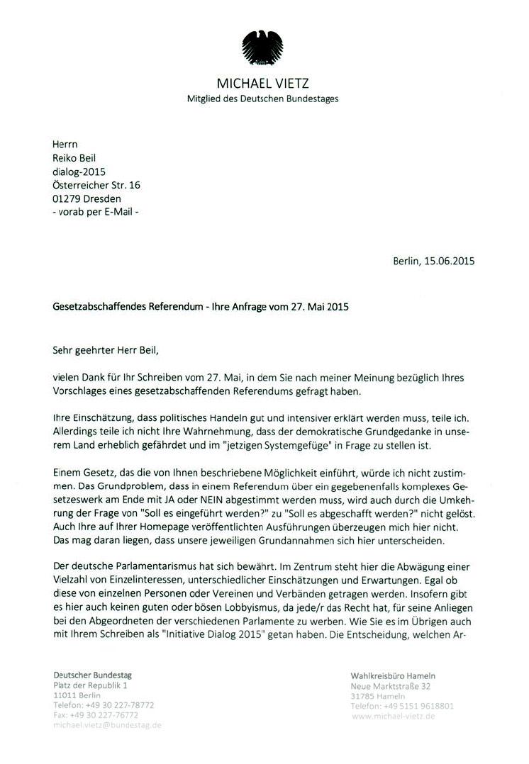 Gesetzesabschaffendes Referendum - Antwort Michael Vietz (MdB/CDU)