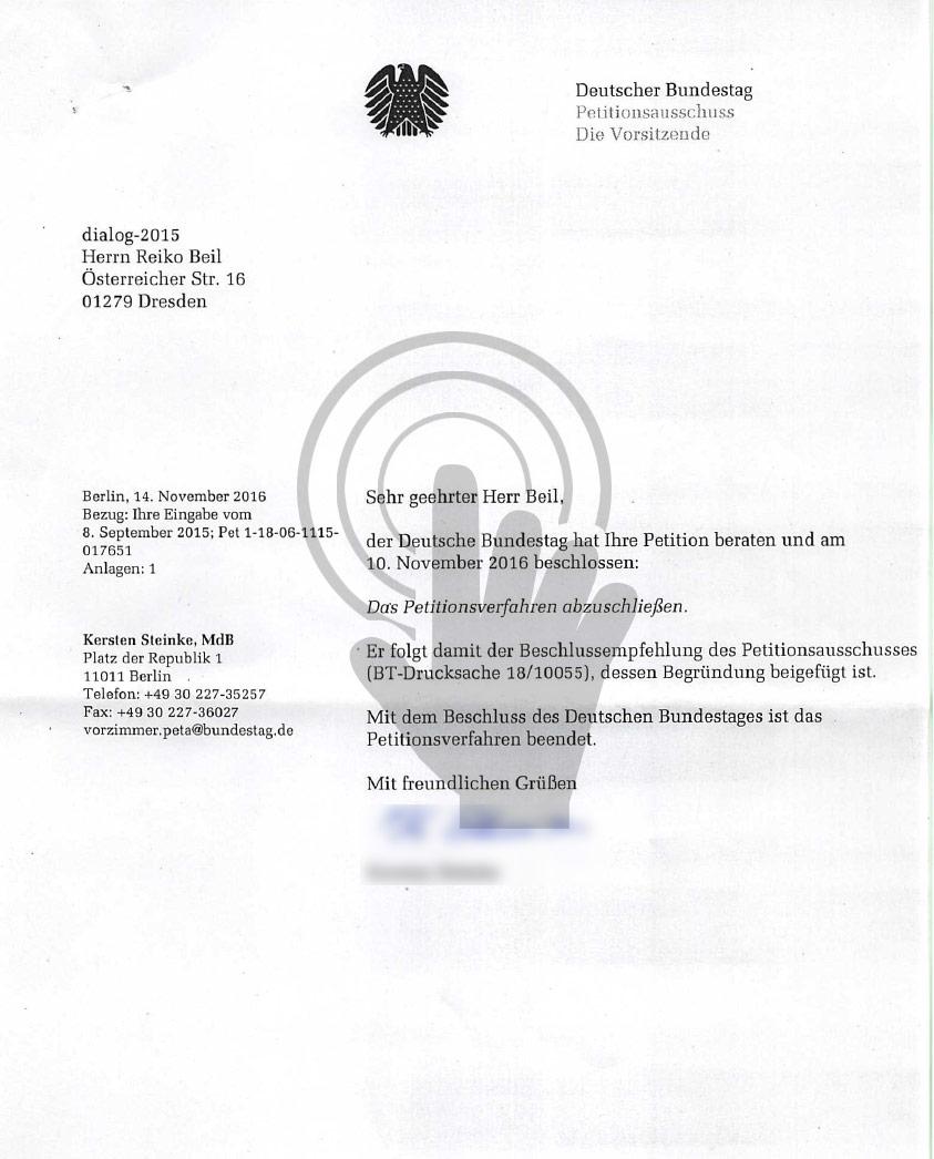 """Beschluss des Deutschen Bundestages vom 10.11.2016 zur Petition (Gesetzentwurf) """"Dresdner Entwurf"""""""